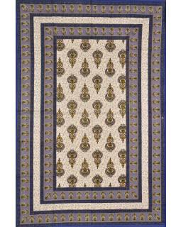 Přehoz na postel s tradičním Indickým vzorem, modrý, 210x146cm