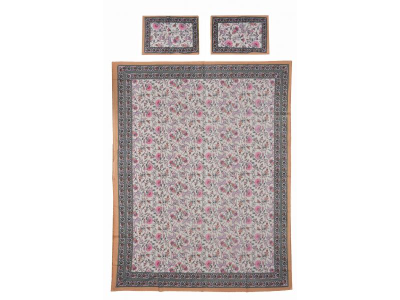Přehoz na postel a dva povlaky na polštáře s potiskem květin, béžový, 216x260cm