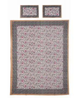 Přehoz na postel a dva povlaky na polštáře s potiskem květin, 216x260cm