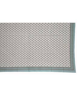 Přehoz na postel a dva povlaky na polštáře s potiskem květin, modrý, 216x260cm