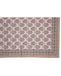Přehoz na postel a dva povlaky na polštáře s potiskem květin, hnědý, 216x260cm