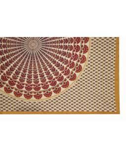 Přehoz na postel a dva povlaky na polštáře s mandalou, 216x260cm