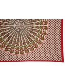 Přehoz na postel a dva povlaky na polštáře s mandalou, červený, 216x260cm