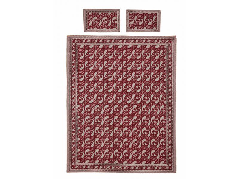 Přehoz na postel a dva povlaky na polštáře s potiskem paisley, červený 216x260cm