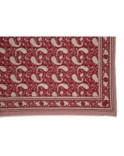 Přehoz na postel a dva povlaky na polštáře s potiskem paisley 216x260cm