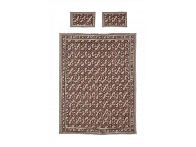 Přehoz na postel a dva povlaky na polštáře s potiskem paisley, hnědý, 216x260cm