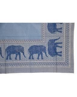 Přehoz na postel a dva povlaky na polštáře s potiskem slonů, 216x260cm