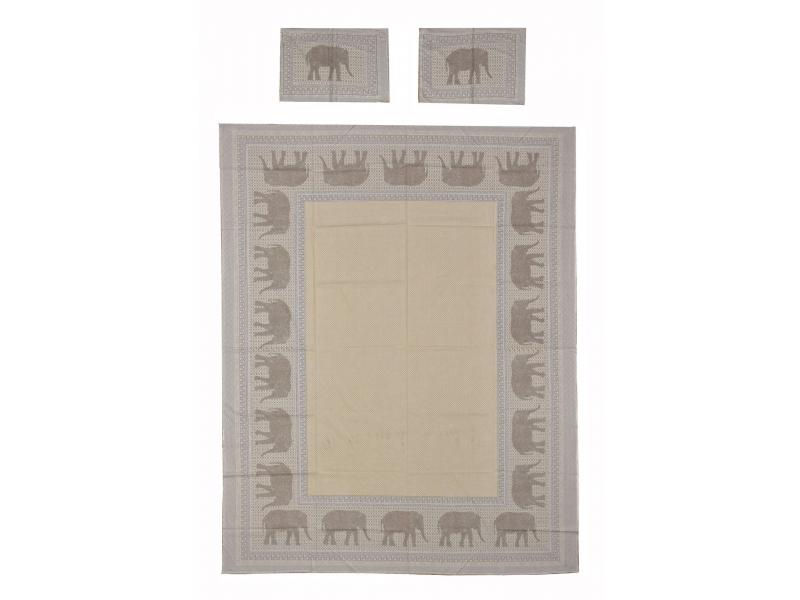 Přehoz na postel a dva povlaky na polštáře s potiskem slonů, šedý, 216x260cm