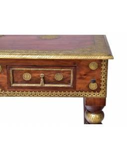 Stolek z palisandrového dřeva zdobený mosazným kováním, 120x65x75cm