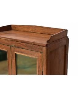 Prosklená skříňka z teakového dřeva, 75x37x114cm