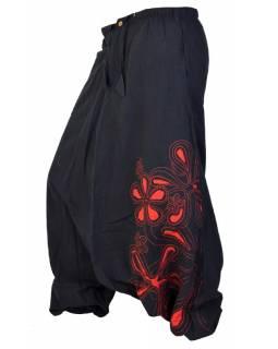 """Černo červené turecké kalhoty """"Chain flower"""""""