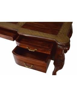 Stolek z palisandrového dřeva zdobený mosazným kováním, 165x70x78cm