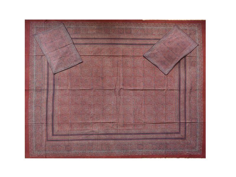 Přehoz na postel, block print, ruční práce, dva polštářky, 230x260cm