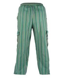 Zelené pruhované unisex kalhoty s kapsami, elastický pas