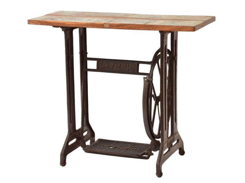 Stolek z teakového dřeva a šicího stroje OLYMPIC, 86x38x75cm