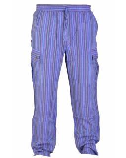 Fialové pruhované unisex kalhoty s kapsami, elastický pas
