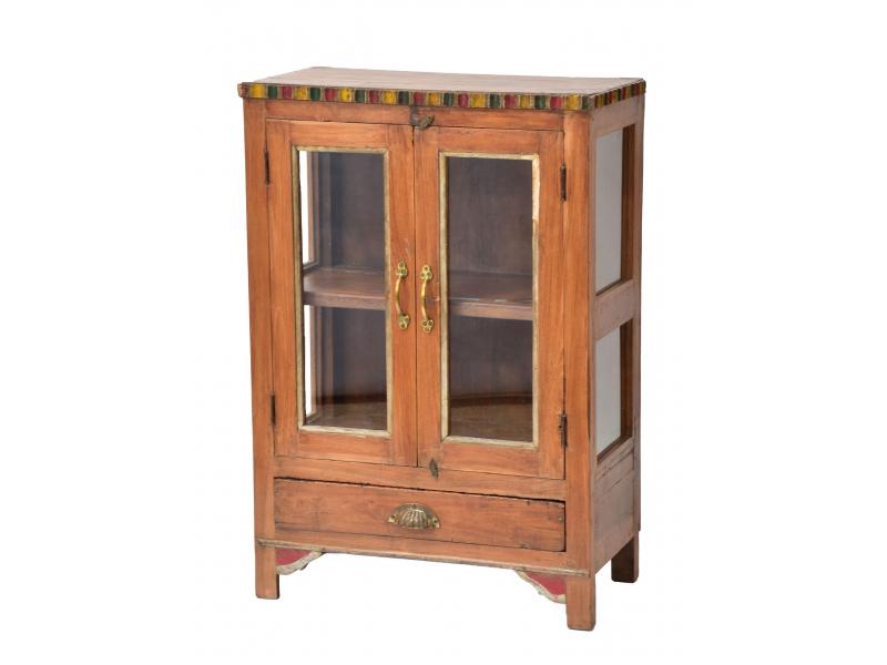 Prosklená skříňka z teakového dřeva, 60x32x87cm