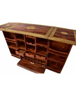 Barový pult, rozkládací, mosazné kování, palisandr, 84x55x110cm