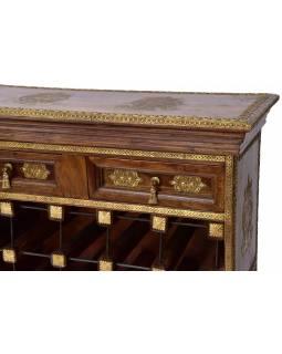 Bar z palisandrového dřeva, mosazné kování, 70x30x110cm