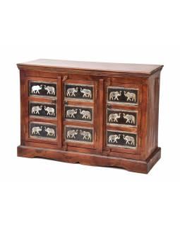 Komoda z palisandrového dřeva, zdobená mosazným kováním, sloni, 107x40x75cm