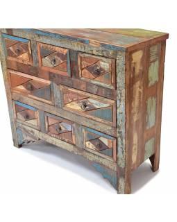 Komoda z teakového dřeva, vykládáná barevnou intarzií, 92x36x80cm