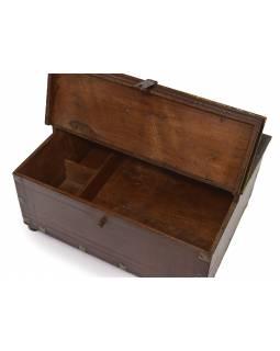 Stará truhlička - šperkovnice z teakového dřeva, 41x19x31cm