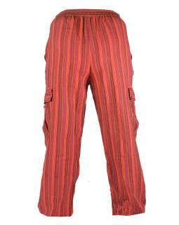 Červené pruhované unisex kalhoty s kapsami, elastický pas