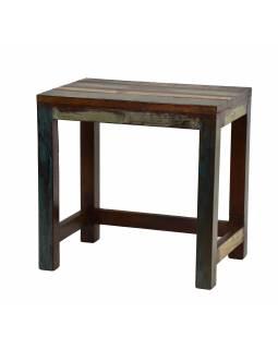 Stolička z teakového dřeva, bílá patina, 45x30x44cm