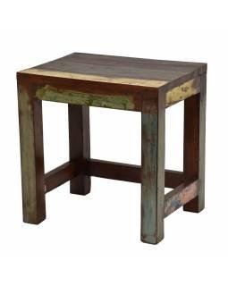 Stolička z teakového dřeva, bílá patina, 34x27x36cm
