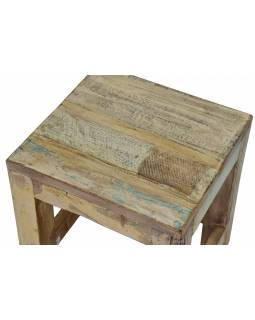 """Stolička z antik teakového dřeva v """"Goa"""" stylu, 25x25x30cm"""