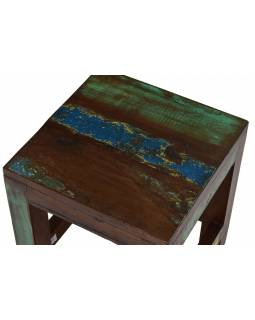 Stolička z antik teakového dřeva, bílá patina, 25x25x30cm