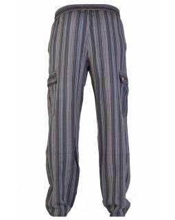 Šedé pruhované unisex kalhoty s kapsami, elastický pas
