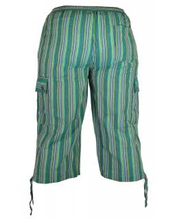 Zelené pruhované tříčtvrteční unisex kalhoty s kapsami, elastický pas
