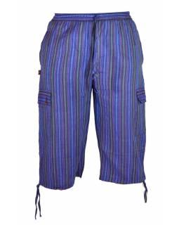 Fialové pruhované tříčtvrteční unisex kalhoty s kapsami, elastický pas