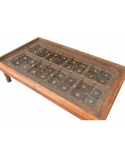 Stolek z teakového dřeva ze starých dveří, sklo, 180x102x47cm