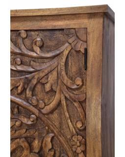Vyřezávaná skříň z mangového dřeva, ruční práce, 100x45x180cm
