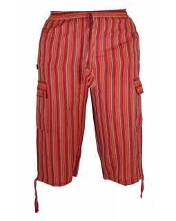 Červené pruhované tříčtvrteční unisex kalhoty s kapsami, elastický pas