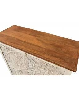 Komoda z mangového dřeva, ručně vyřezávaná dvířka, 101x43x106cm