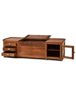 Nízká komoda z teakového dřeva, 165x55x50cm