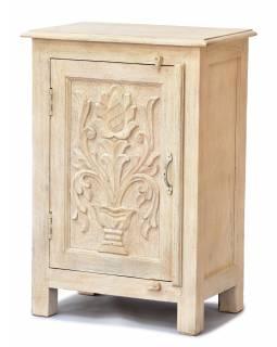 Noční stolek z mangového dřeva, ručně vyřezávaný, 54x33x74cm