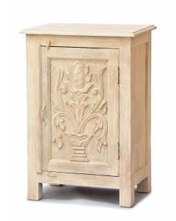 Noční stolek vyrobený z mangového dřeva, ručně vyřezávaný, 54x33x74cm