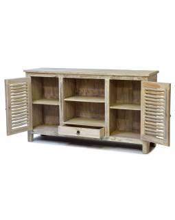 Komoda pod TV z teakového dřeva, bílá patina, 152x40x87cm