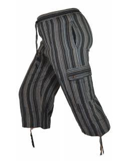 Šedo černé pruhované tříčtvrteční unisex kalhoty s kapsami, elastický pas