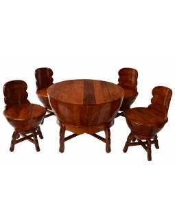 Stoleček a 4 židličky z mangového dřeva