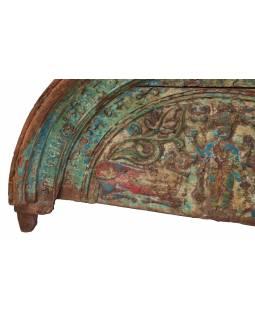 Část starého portálu z teakového dřeva ručně vyřezané, 122x9x68cm