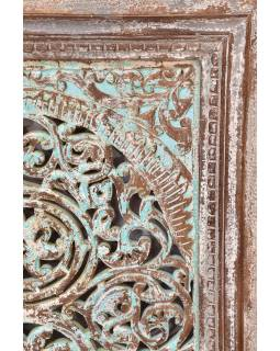 Dřevěný dekorativní panel na stěnu ručně vyřezaný z mangového dřeva, 75x6x107cm