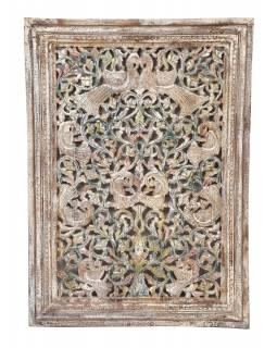 Dřevěný dekorativní panel na stěnu ručně vyřezaný z mangového dřeva, 86x6x119cm