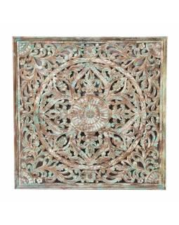 Ručně vyřezaná mandala z mangového dřeva, 150x8x150cm