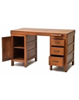 Starý psací stůl z teakového dřeva, 138x60x77cm