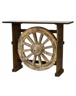 Barový pult z akáciového dřeva se starým kolem od vozu, 140x40x106cm
